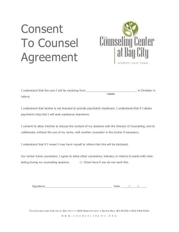 Consent to Counsel Document, The Counseling Center at Bay City, Initial Consultation