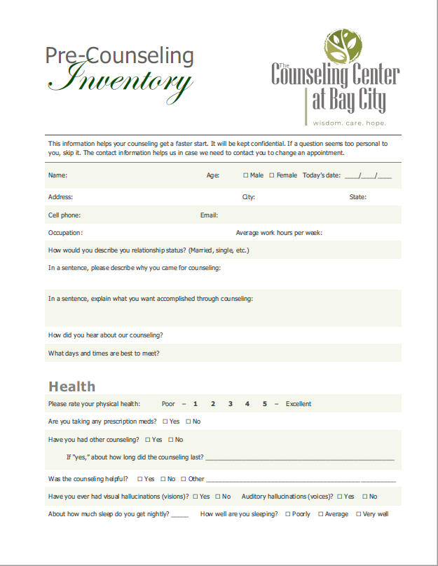 Pre-Counseling Inventory Document, The Counseling Center at Bay City, Initial Consultation