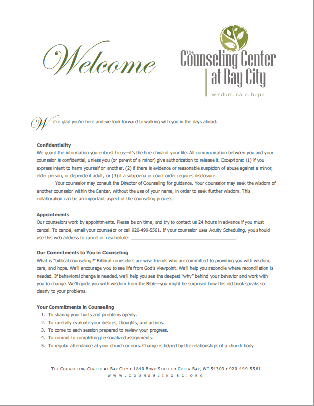 Welcome Document, The Counseling Center at Bay City, Initial Consultation