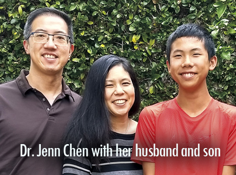 Psychologist Dr. Jenn Chen found help in biblical counseling;, she is pictured here with her family